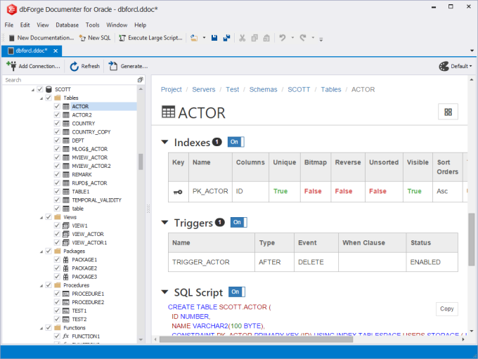 dbForge Documenter for Oracle