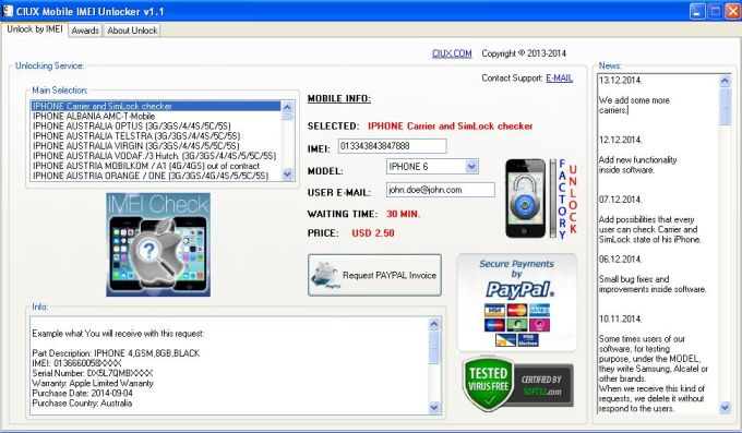 CIUX Mobile IMEI Unlocker
