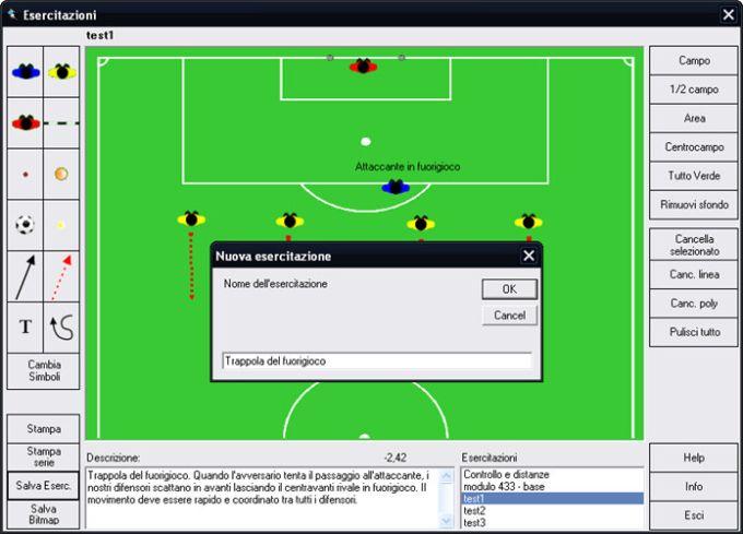Gestione esercitazioni per allenamenti di calcio