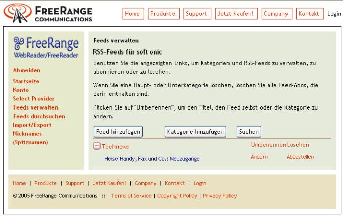 Freerange RSS Reader