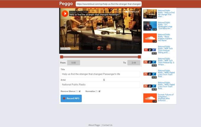 Peggo - Internet Video to MP3 recorder