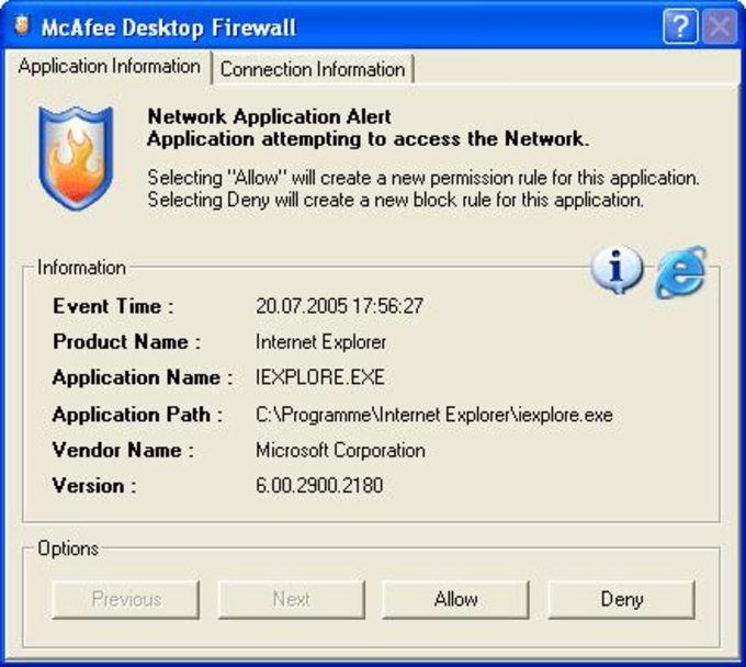 McAfee Desktop Firewall