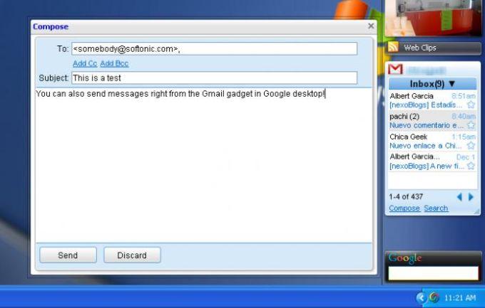 Google Gmail Gadget