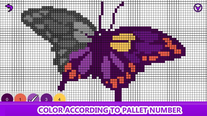 Butterfly Color by Number: Pixel Art, Sandbox Coloring