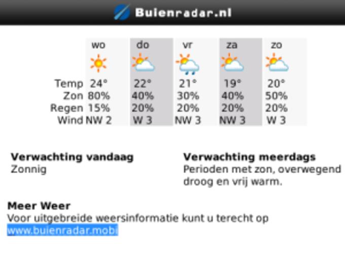 Buienradar.nl voor BlackBerry
