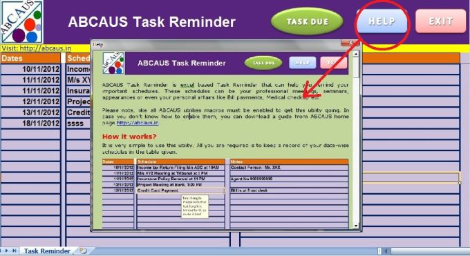 ABCAUS Excel Task Reminder