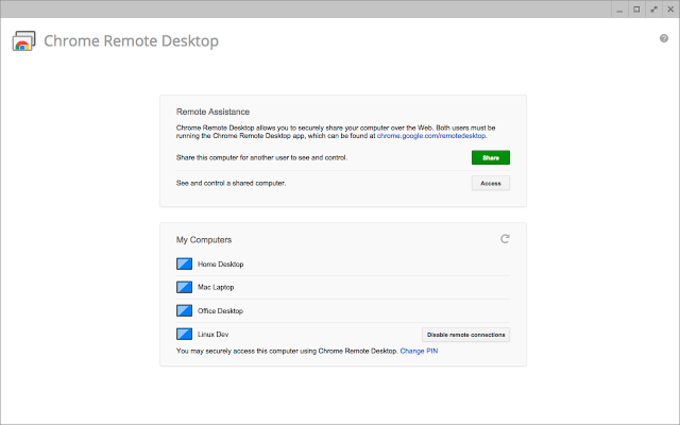 Chrome Remote Desktop for Chrome