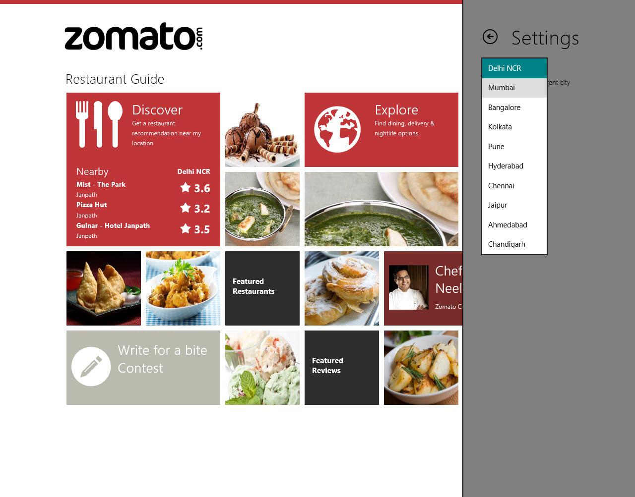 Zomato for Windows 10