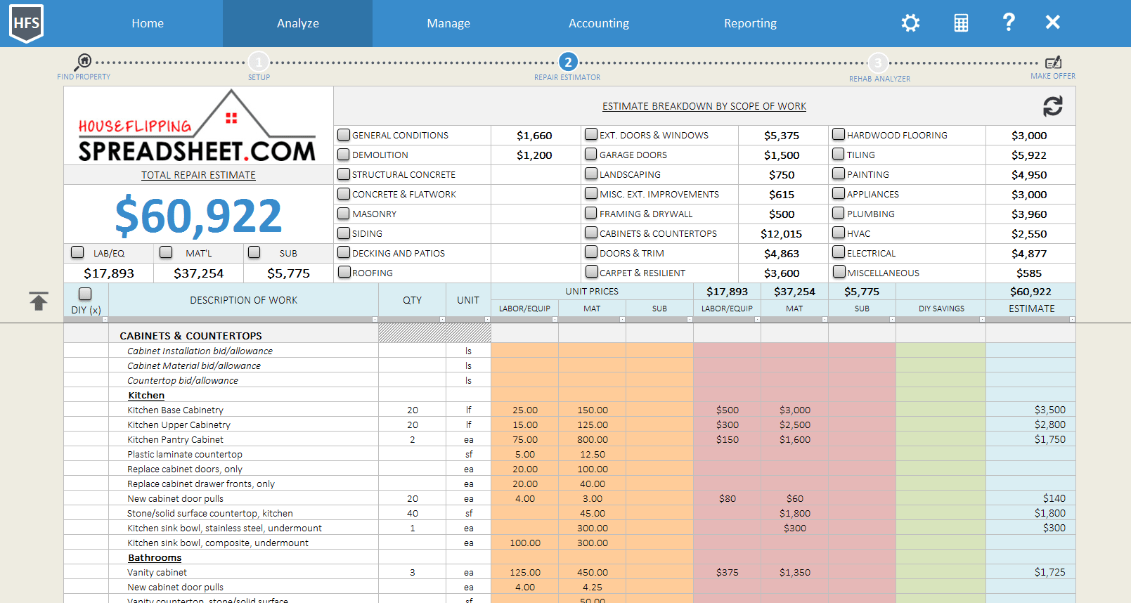 House Flipping Spreadsheet Download