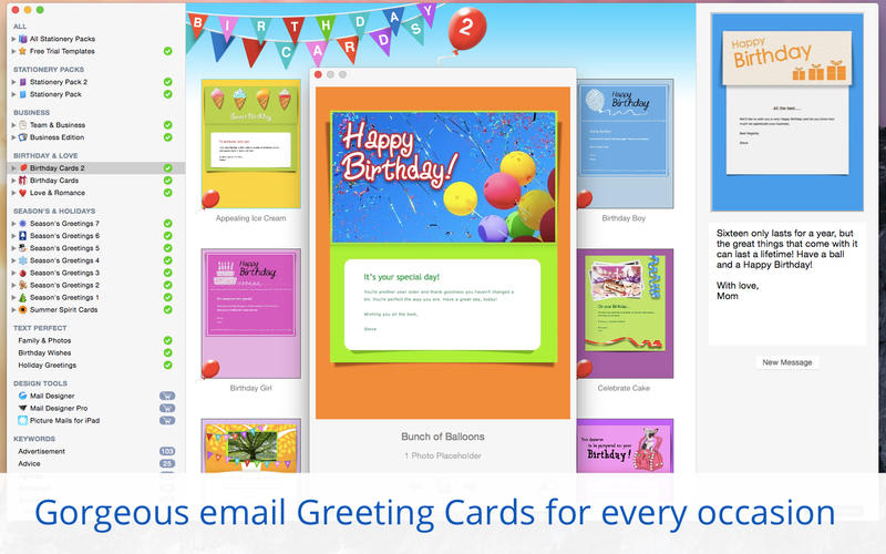 Stationery Greeting Cards templates for Apple Mail
