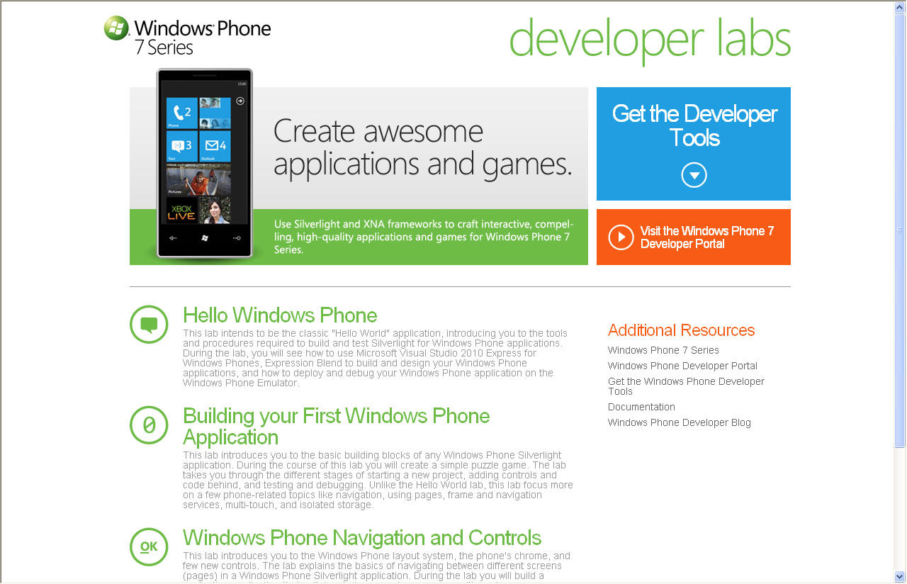 Windows Phone 7 Developer Training Kit
