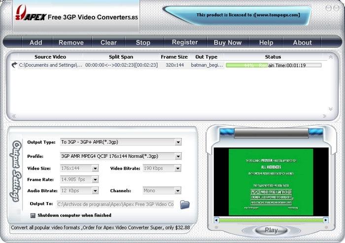 Apex Free 3GP Video Converter