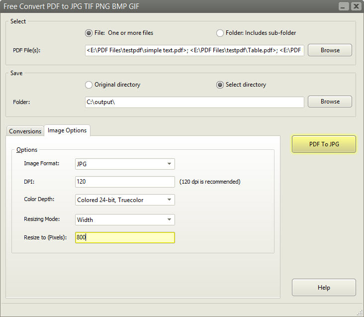 Free Convert PDF to JPG TIF PNG BMP GIF