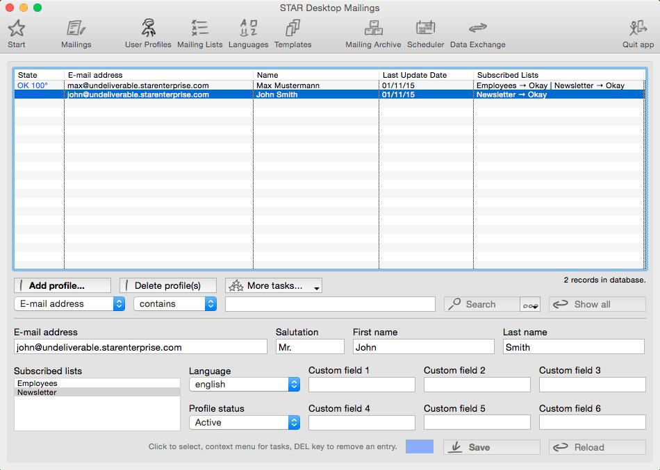 STAR Desktop Mailings