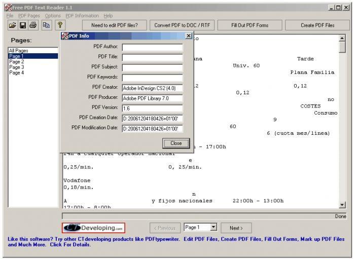 Free PDF Text Reader