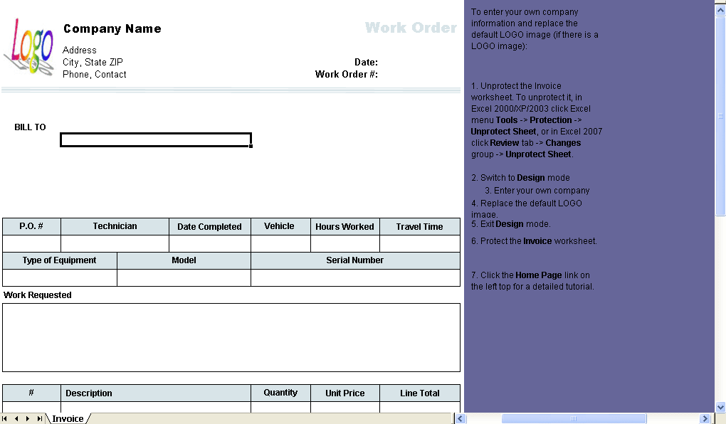 workorder template - work order template download