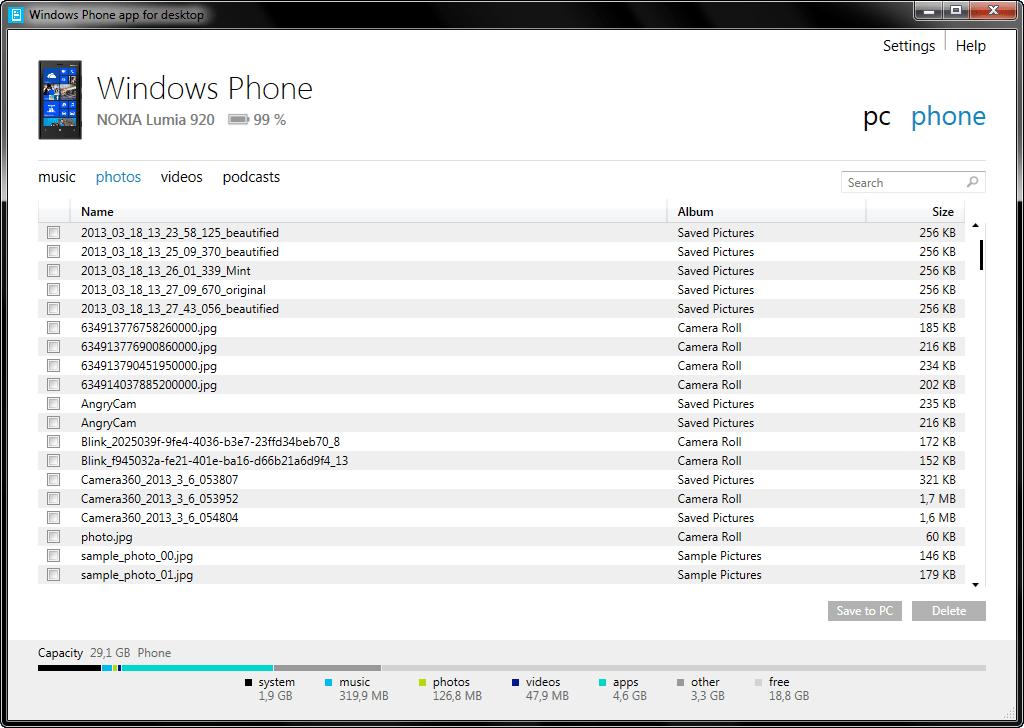 Aplicación Windows Phone de escritorio