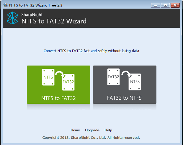 NTFS to FAT32 Wizard Free Edition
