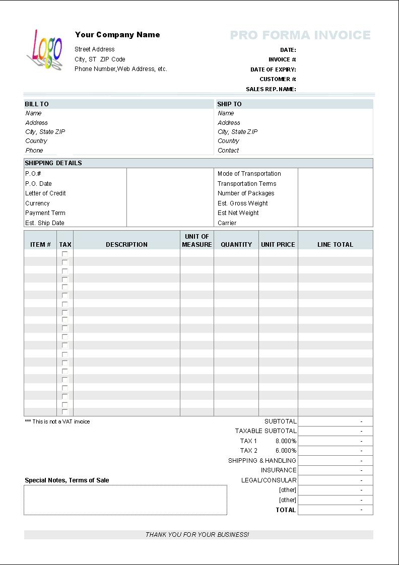 Free Proforma Invoice Template