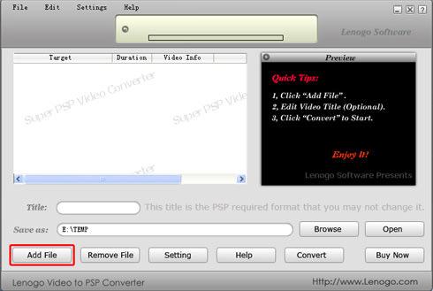 Lenogo Video to PSP Converter