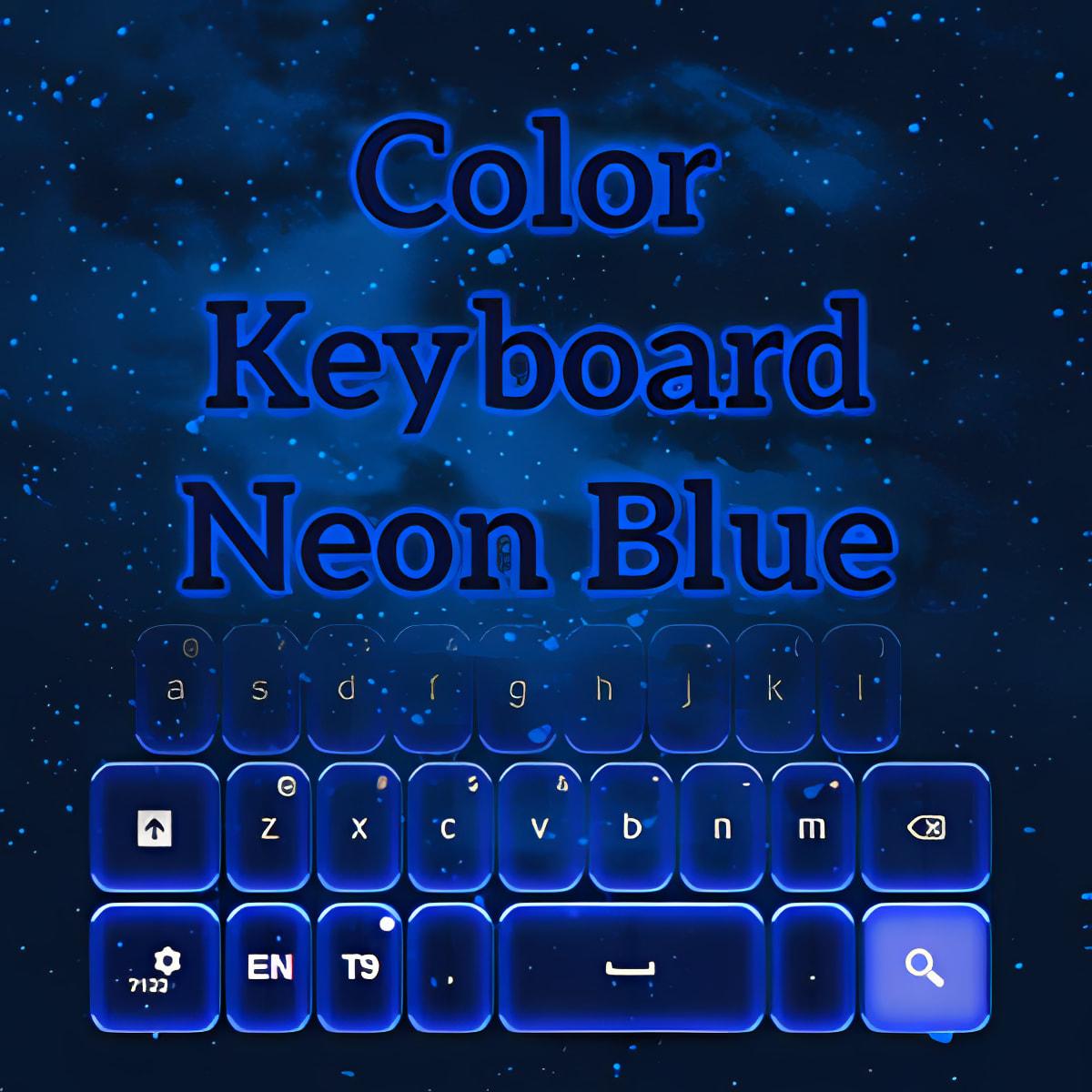 Color de teclado azul de neón