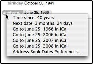 Address Book Dates