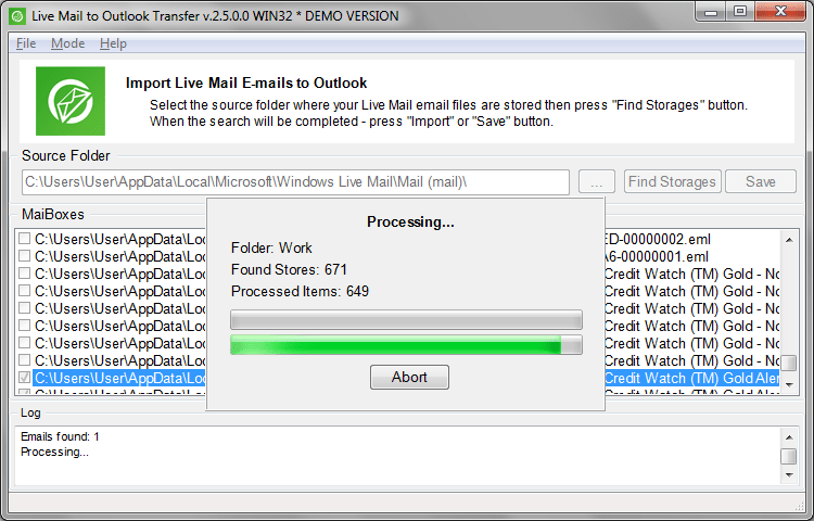 Live Mail to Outlook Transfer