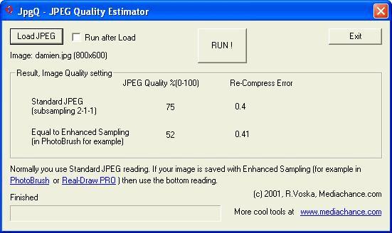 JPEG Quality Estimator (jpgQ)