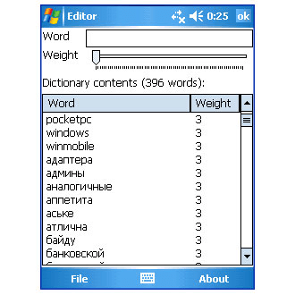 Word Completion Dictionary Editor