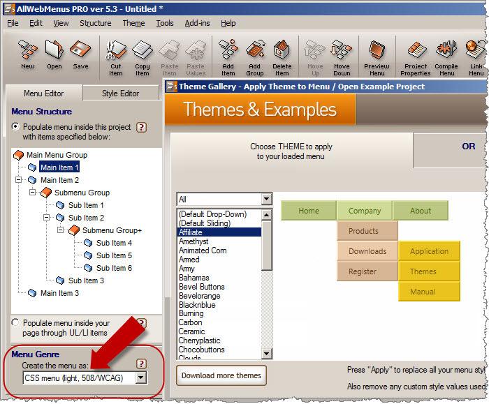AllWebMenus Accessible Menu 508 Addin