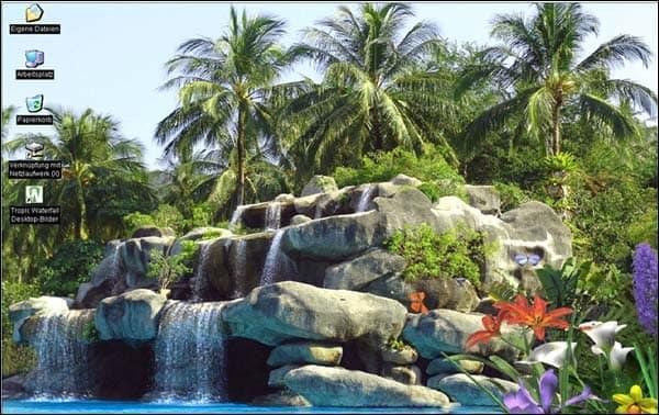 Fond D'écran Animé D'une Cascade Tropicale