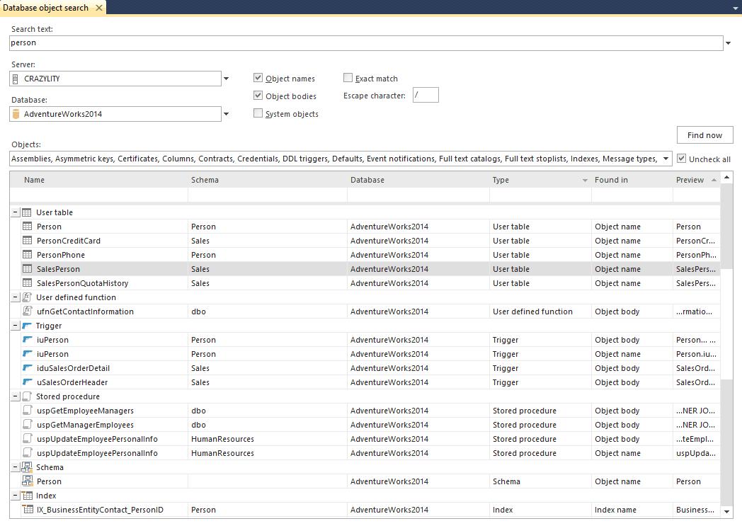 ApexSQL Search