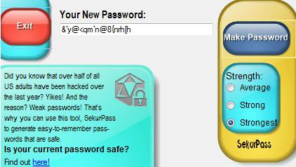 SekurPass Password generator