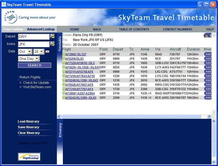 SkyTeam Travel Timetable