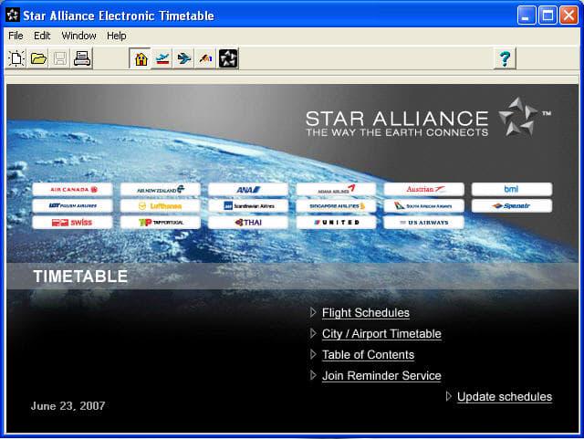Star Alliance Timetables