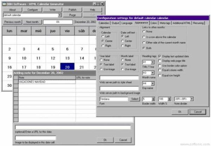 HTML Calendar Generator