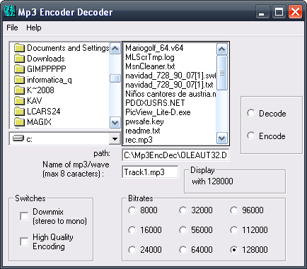 Mp3 Encoder Decoder