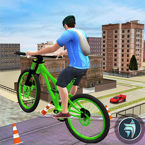 City Rooftop BMX Bicycle Rider