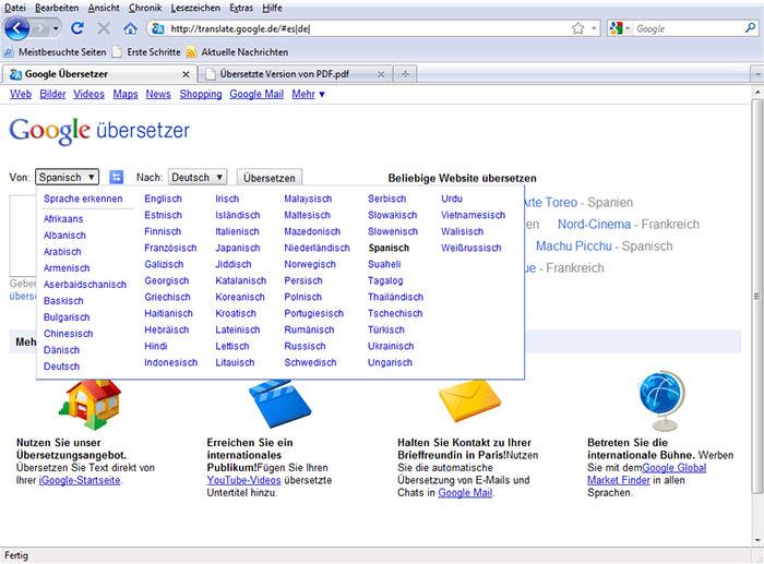 Google ubersetzer franzosisch