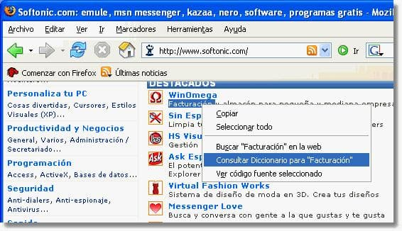 Dictionary Search Extension for Firefox