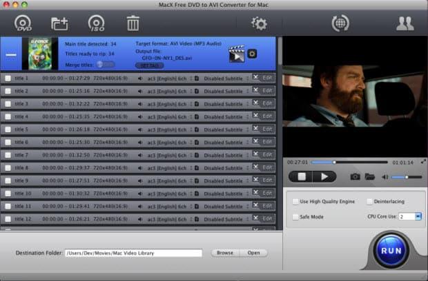 MacX Free DVD to AVI Converter for Mac