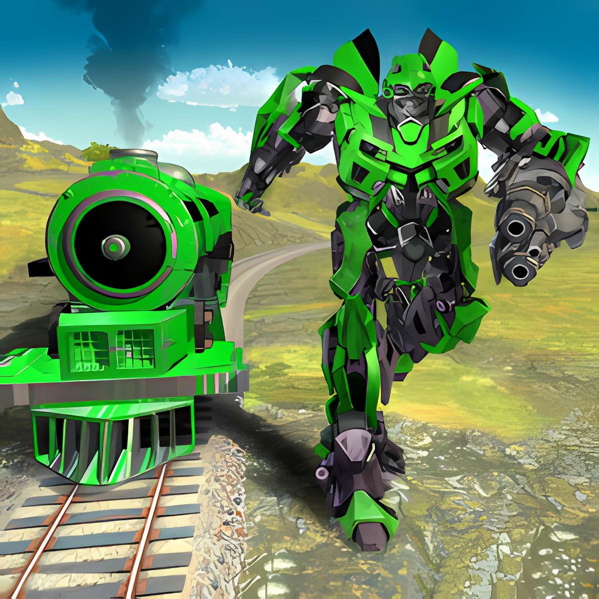 Future Subway Euro Train Transformation Robot War
