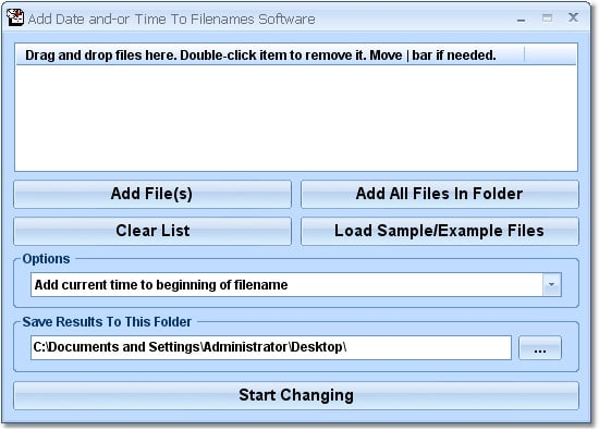 Add Date and-or Time To Filenames Software
