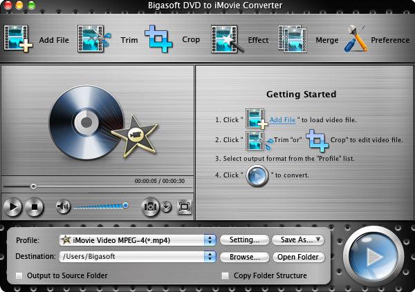 Bigasoft DVD to iMovie Converter for Mac
