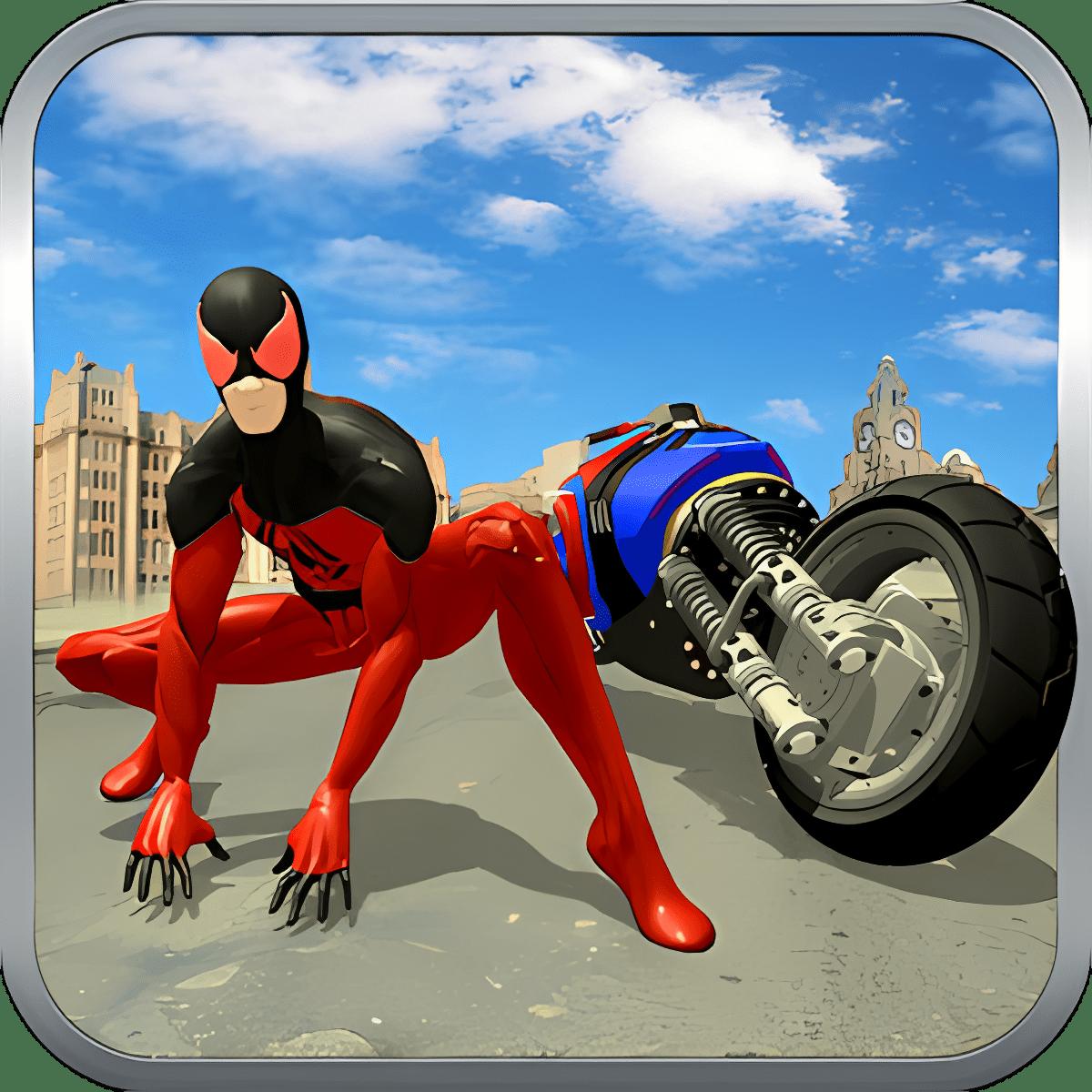 Super Spider Hero Flying Bike City Battle