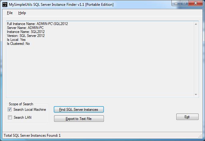 MySimpleUtils SQL Server Instance Finder Portable