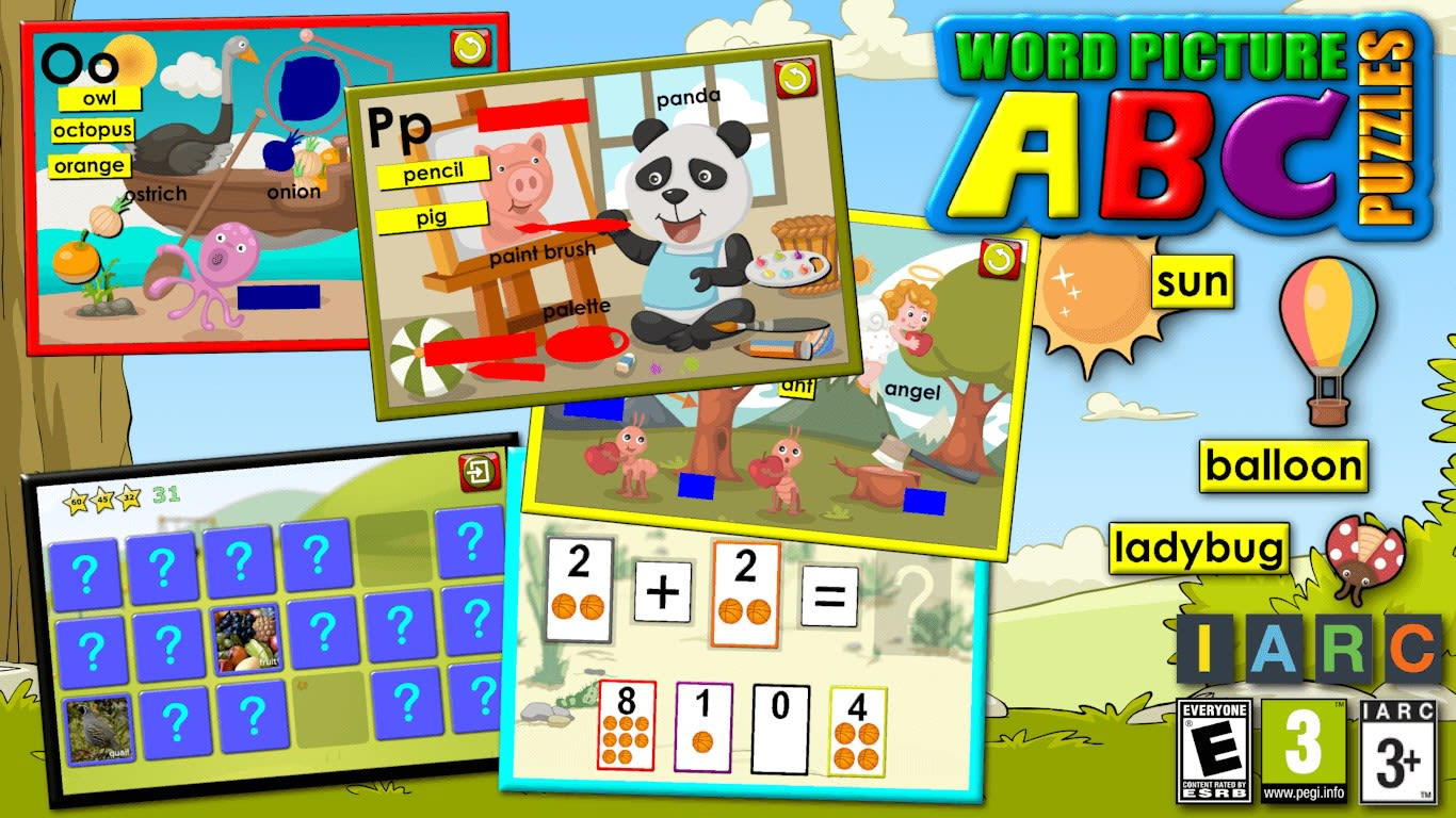 ABC preschool word and picture puzzles