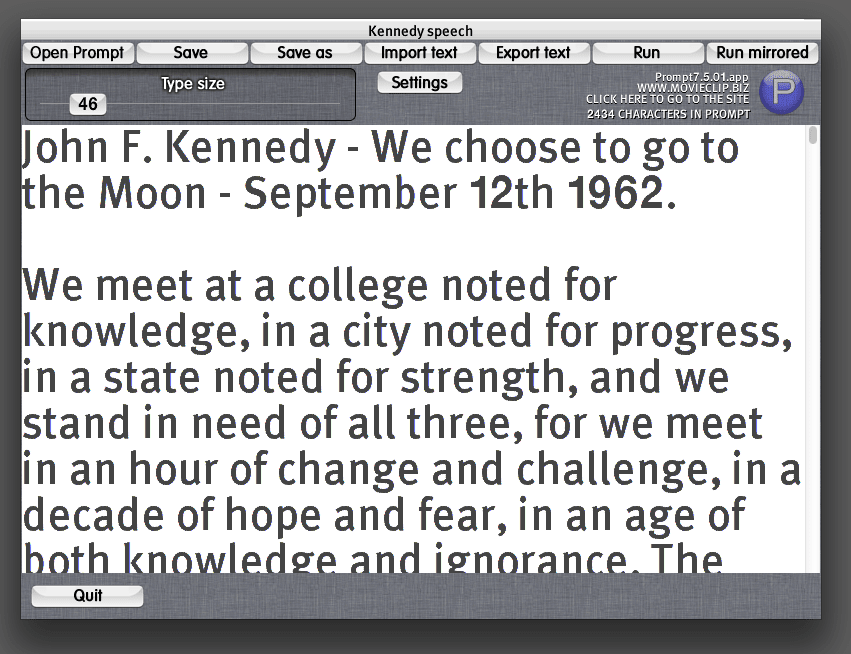 Prompt teleprompter for Mac OSX