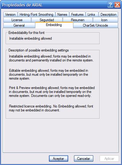 Microsoft OpenType Font File Properties Extension