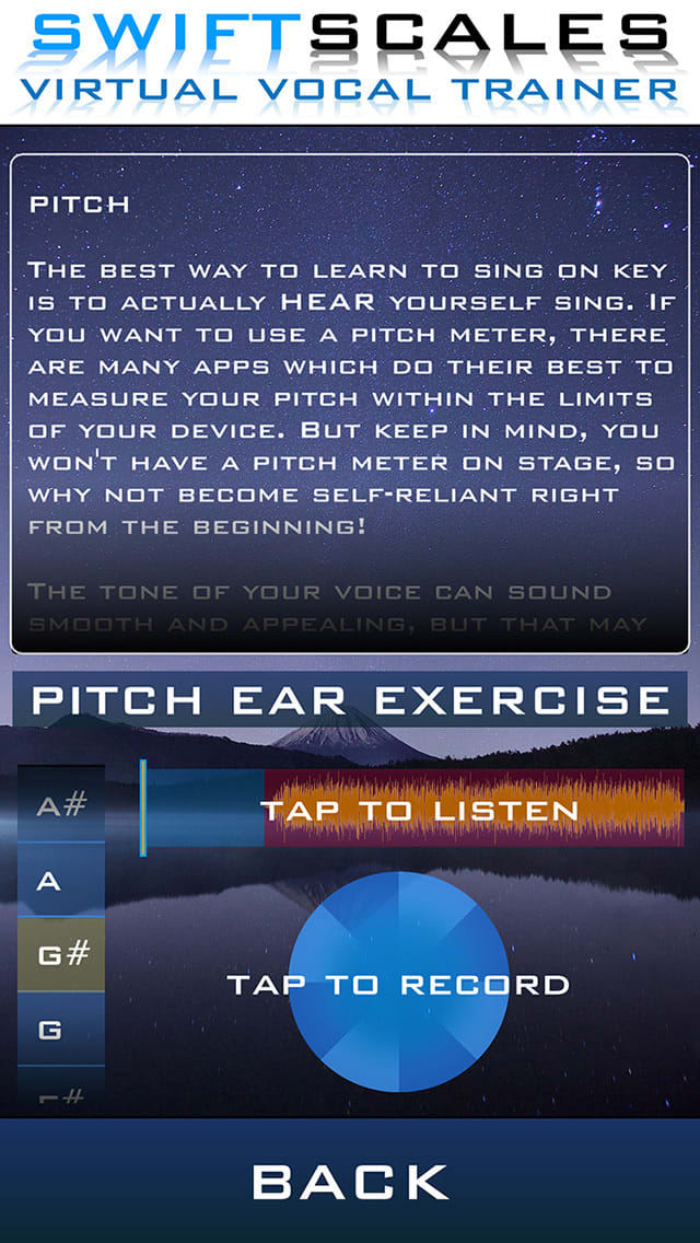 SWIFTSCALES Vocal Trainer - Learn to sing, warm up, and train your voice with your own virtual vocal coach.